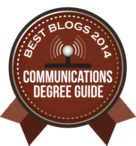 Badge - Communications Degree Guide Best Blogs 2014